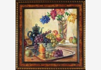 Натюрморт с виноградом и грушами